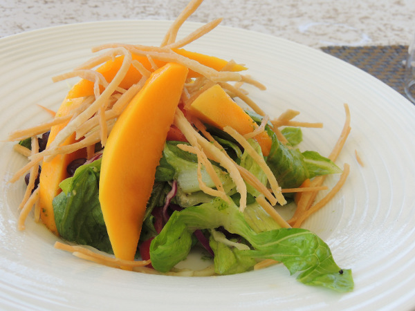 Black bean tossed salad: with capsicum and red onions with a honey cumin dressing, sliced mangoes and tortilla chips